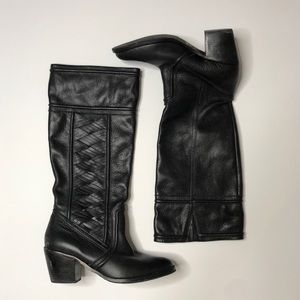 FOSSIL black leather woven tall heeled boots 10